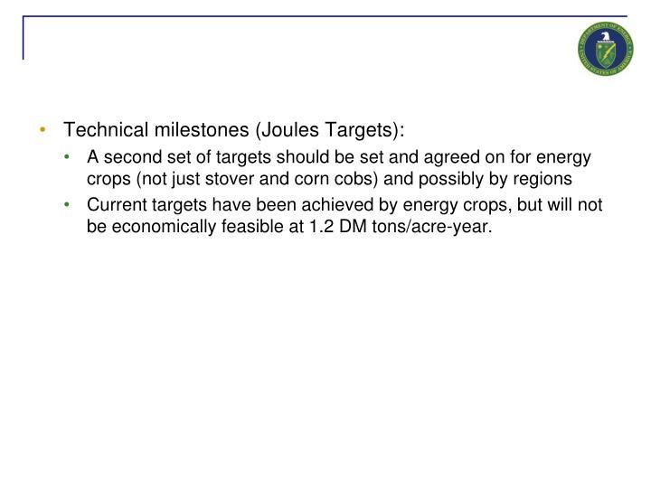 Technical milestones (Joules Targets):