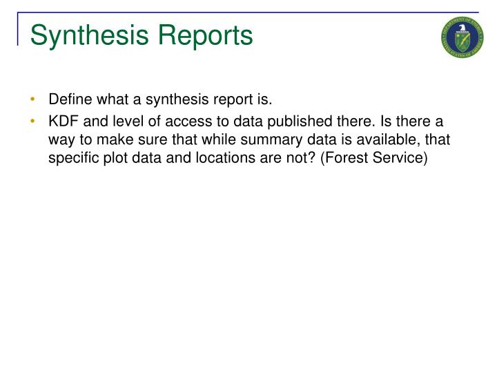 Synthesis Reports