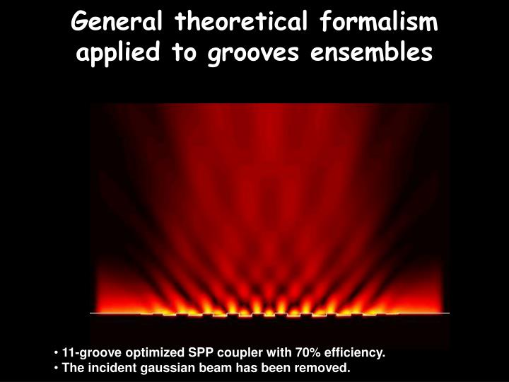 General theoretical formalism applied to grooves ensembles