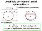 local field corrections small sphere r l