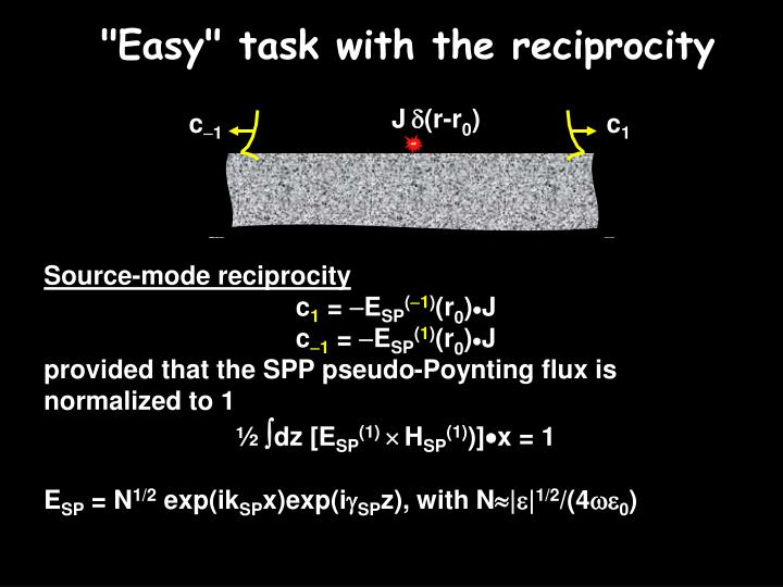 """""""Easy"""" task with the reciprocity"""