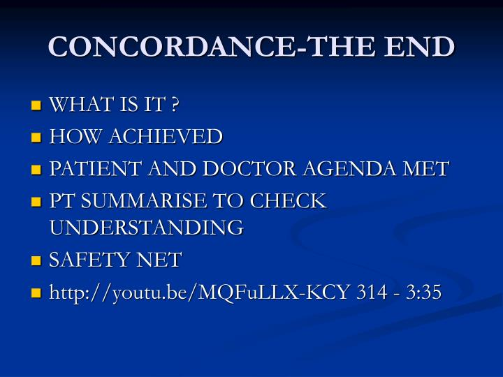 CONCORDANCE-THE END
