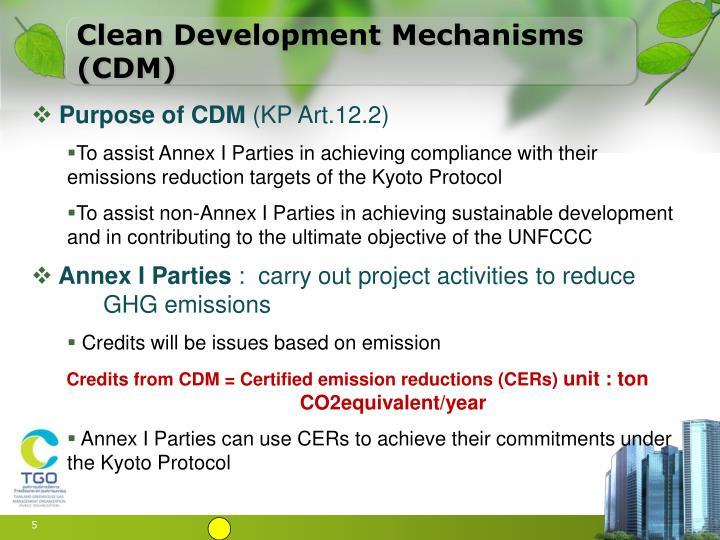 Clean Development Mechanisms (CDM)