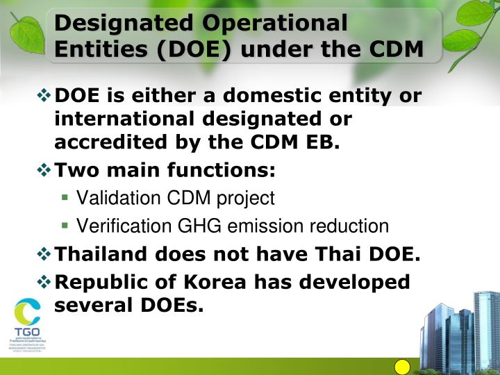 Designated Operational Entities (DOE) under the CDM