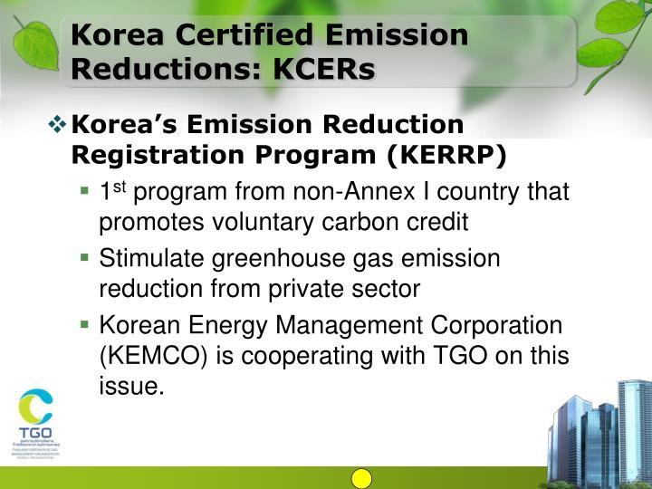 Korea Certified Emission Reductions: KCERs