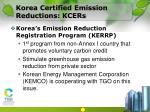 korea certified emission reductions kcers