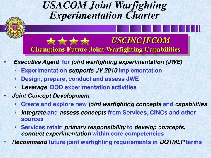 USACOM Joint Warfighting Experimentation Charter