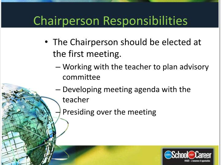 Chairperson Responsibilities