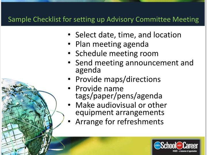 Sample Checklist for setting up Advisory Committee Meeting