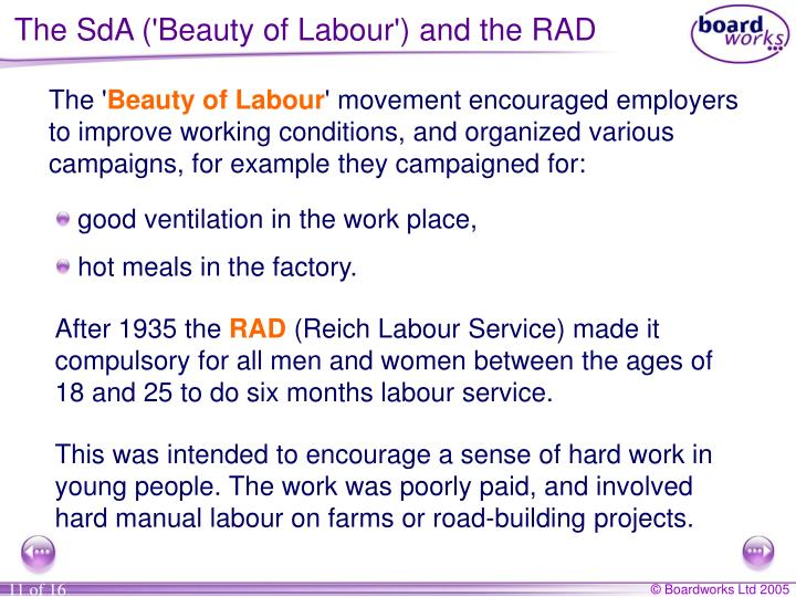 The SdA ('Beauty of Labour') and the RAD