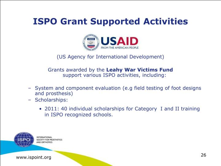 ISPO Grant Supported Activities