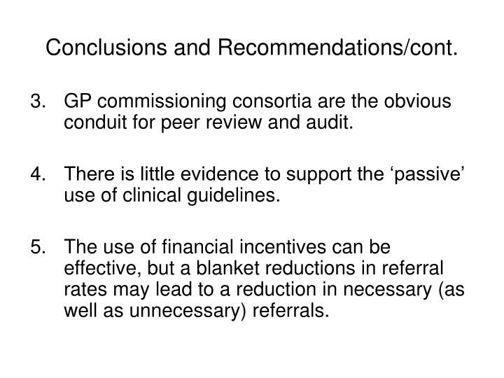 Conclusions and Recommendations/cont.