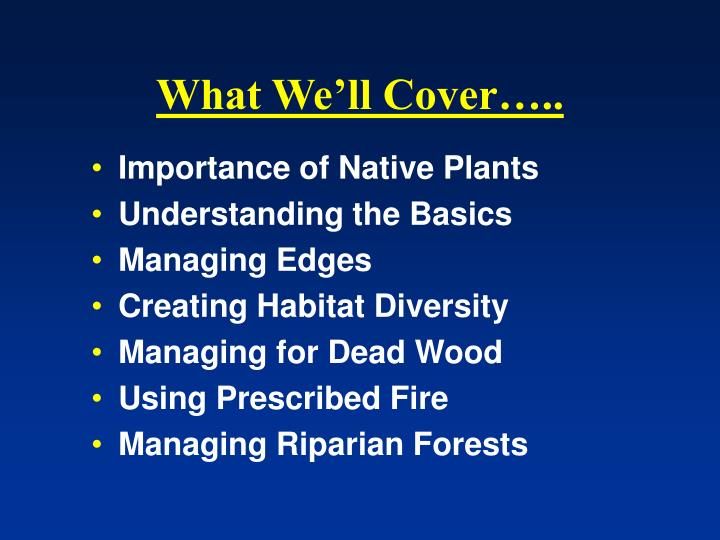 What We'll Cover…..