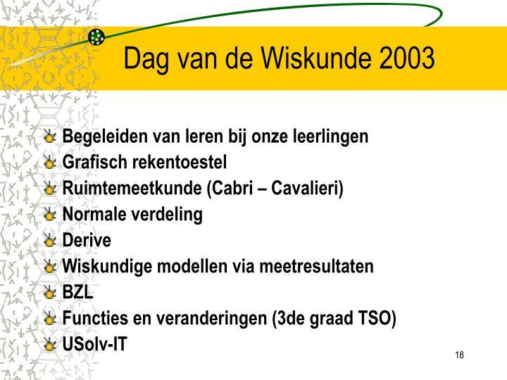 Dag van de Wiskunde 2003