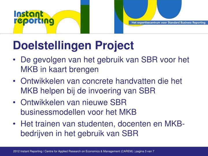 Doelstellingen Project