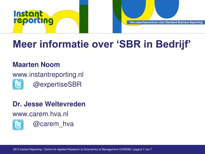 Meer informatie over 'SBR in Bedrijf'