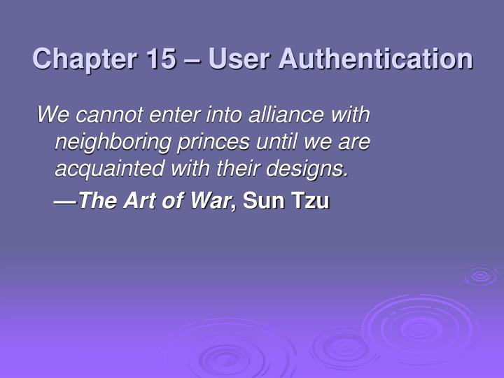 Chapter 15 – User