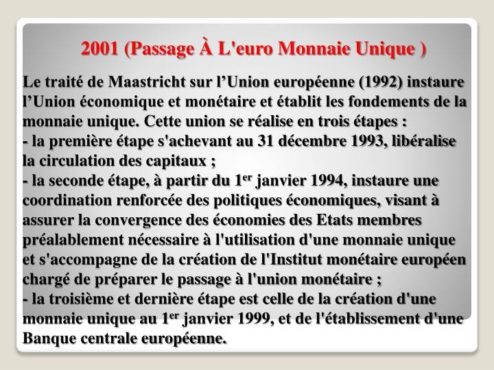 2001 (Passage À L'euro Monnaie Unique )