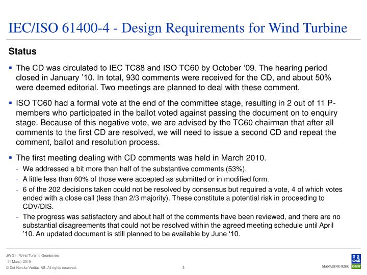 Iec iso 61400 4 design requirements for wind turbine1