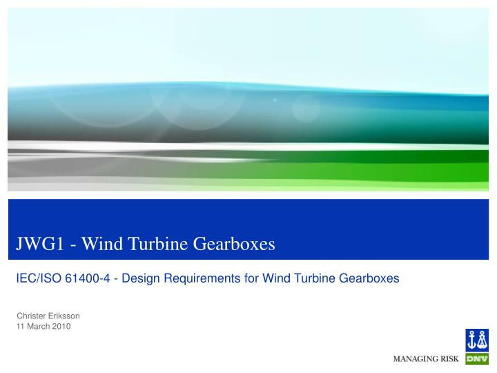 Jwg1 wind turbine gearboxes