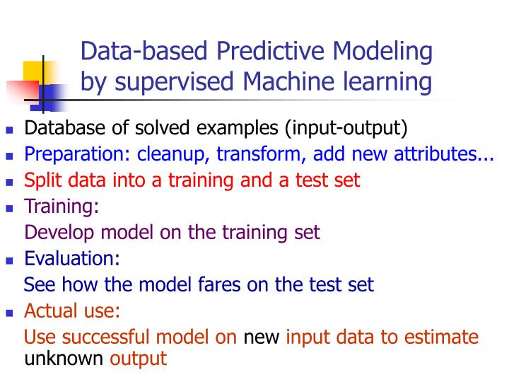 Data-based Predictive Modeling                     by supervised Machine learning