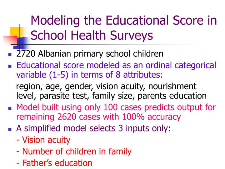 Modeling the Educational Score in                School Health Surveys