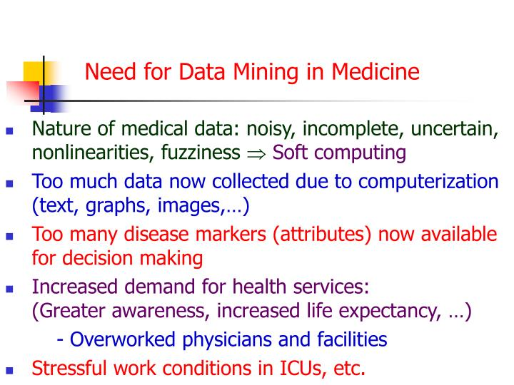Need for Data Mining in Medicine
