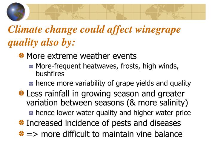 Climate change could affect winegrape quality also by: