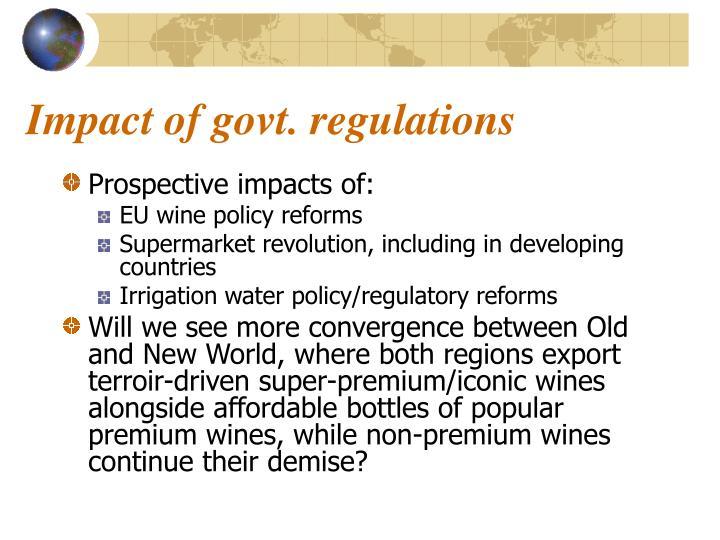 Impact of govt. regulations