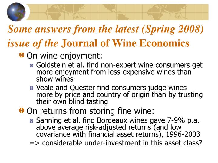 Some answers from the latest (Spring 2008) issue of the