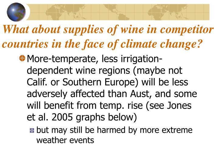 What about supplies of wine in competitor countries in the face of climate change?