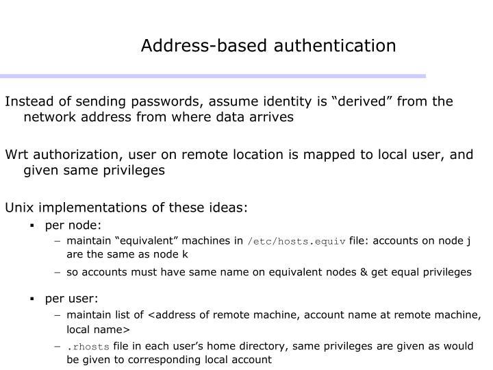 Address-based authentication