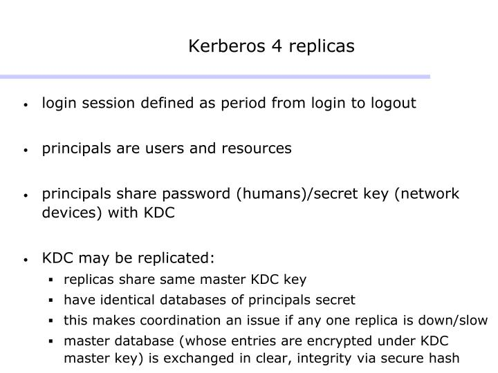 Kerberos 4 replicas