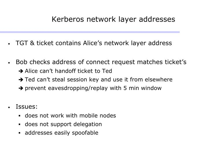 Kerberos network layer addresses