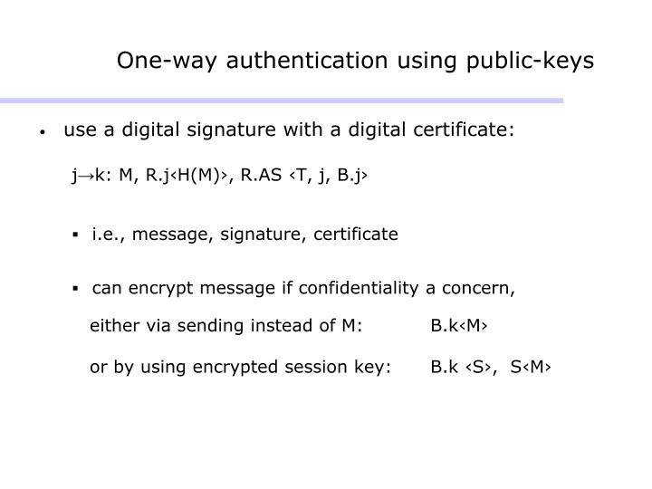 One-way authentication using public-keys