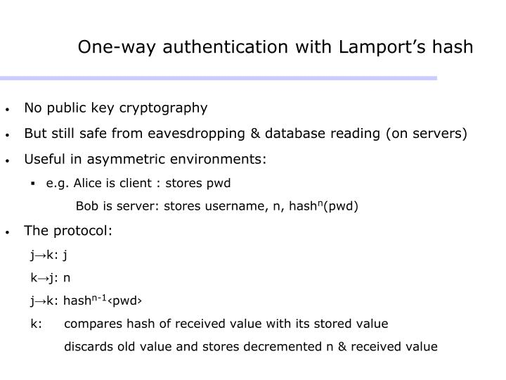 One-way authentication with Lamport's hash