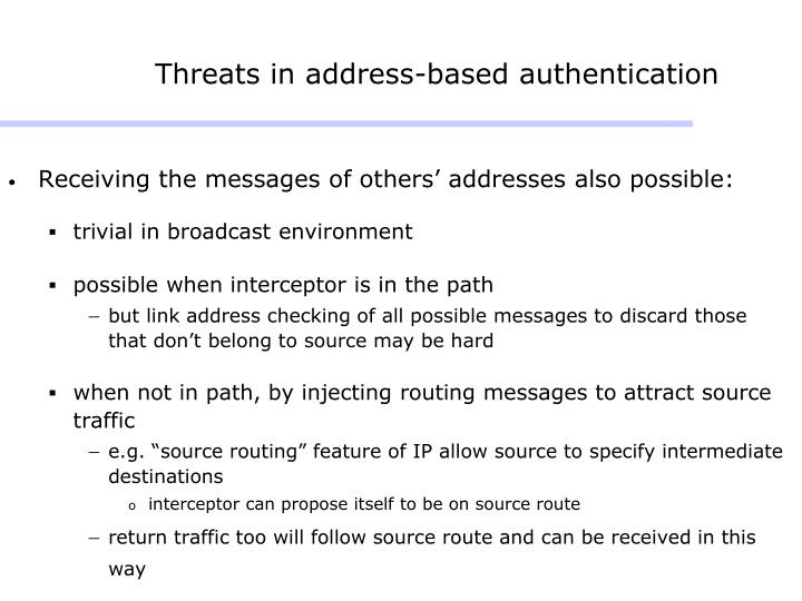 Threats in address-based authentication
