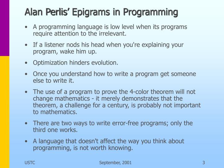 Alan Perlis' Epigrams in Programming