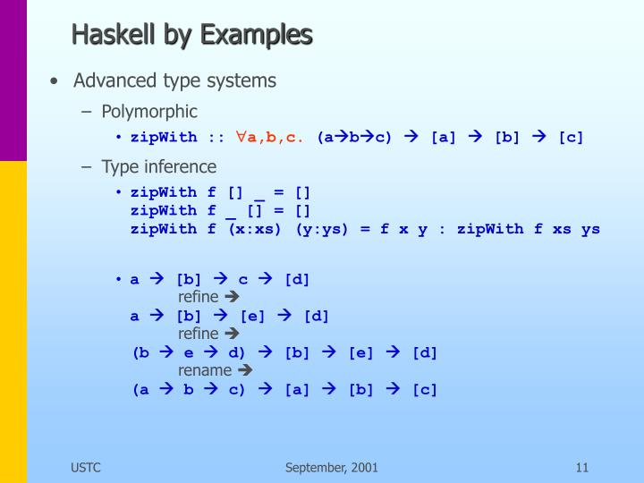 Haskell by Examples
