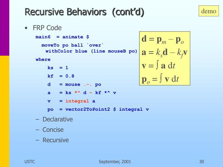 Recursive Behaviors  (cont'd)