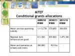 mtef conditional grants allocations