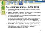 recommended changes to the bill 21