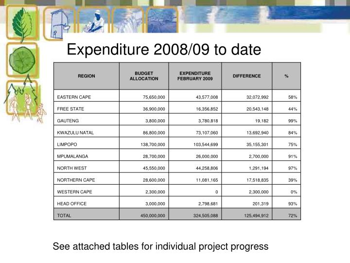 Expenditure 2008/09 to date