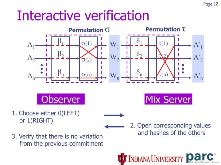 Interactive verification