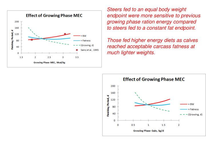 Steers fed to an equal body weight endpoint were more sensitive to previous growing phase ration energy compared to steers fed to a constant fat endpoint.