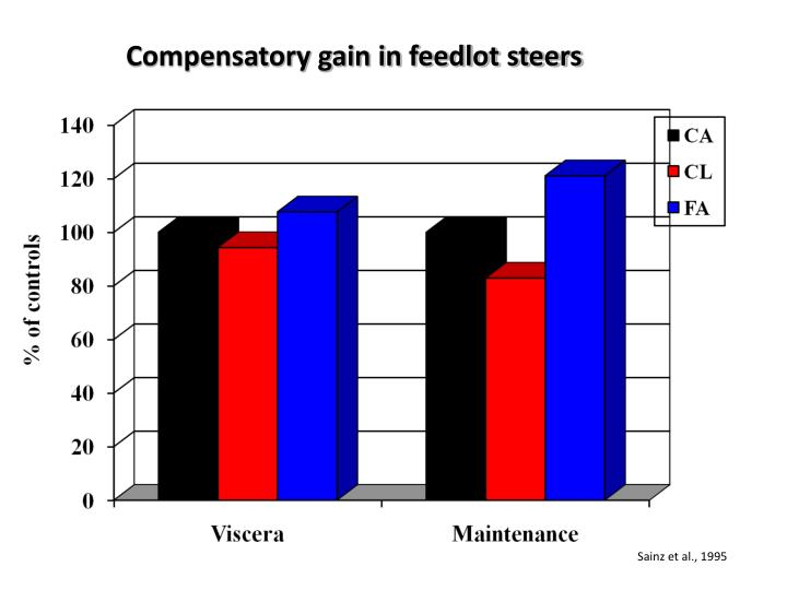 Compensatory gain in feedlot steers