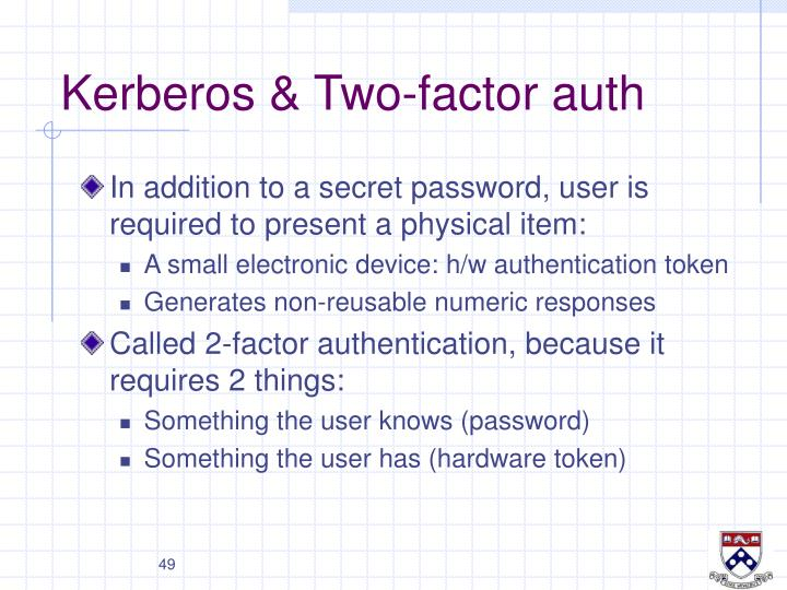 Kerberos & Two-factor auth