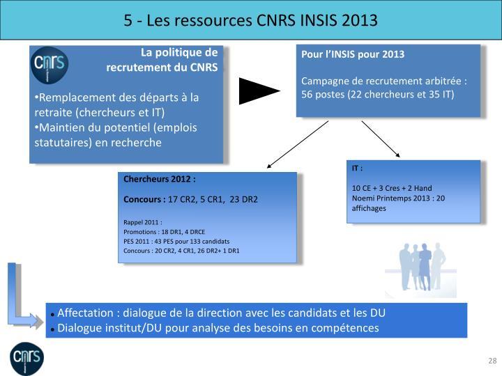 5 - Les ressources CNRS INSIS