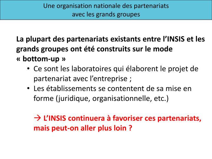 Une organisation nationale des partenariats