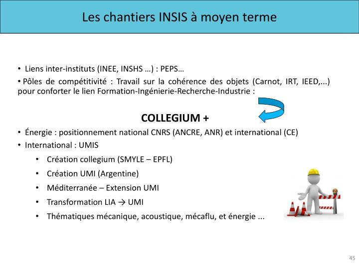 Les chantiers INSIS à moyen terme